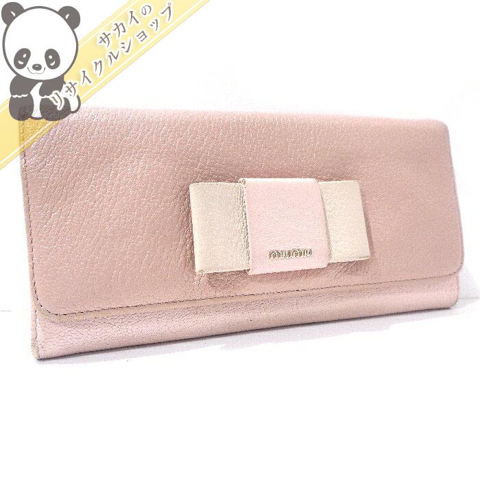 【中古】MiuMiu 二つ折り長財布 マドラスフィオッコ パスケース付 リボン ピンク/ベージュ 5MH109