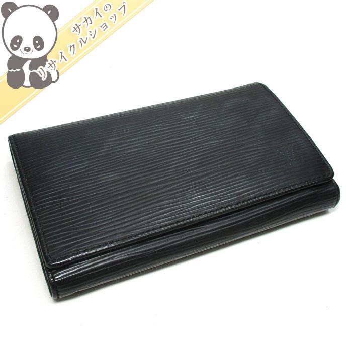 【中古】ルイ・ヴィトン 二つ折りコンパクト財布 ポルトモネ ビエ トレゾール エピ ノワール M63502