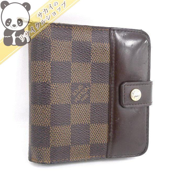 【中古】ルイ・ヴィトン 二つ折り財布 コンパクトジップ ダミエ エベヌ N61668