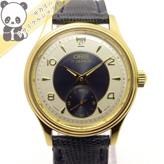 【中古】オリス メンズ腕時計 手巻き スモールセコンド GP レザー ネイビーベルト アイボリー/ネイビー文字盤 7459-26