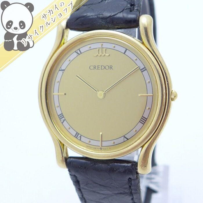 【中古】セイコー ボーイズ メンズ腕時計 クレドール クオーツ 金無垢 ベゼルK14KT YG/レザー ゴールド文字盤 9570-6010 総重量27g