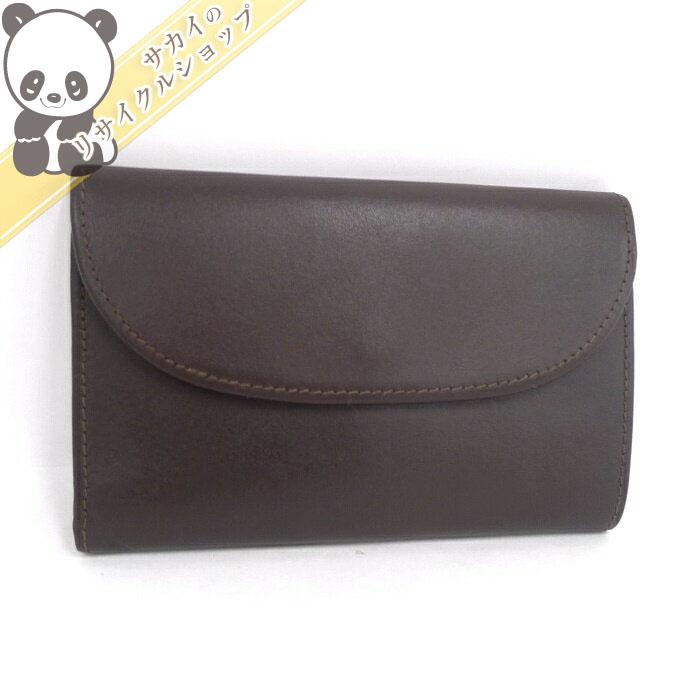 【中古】ホワイトハウスコックス 三つ折り財布 ブラウン レザー S7660