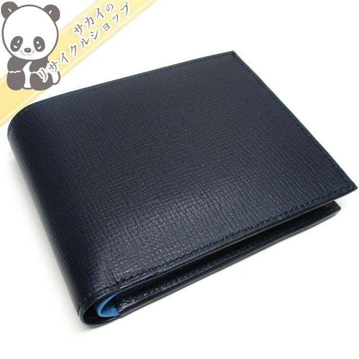 【中古】【未使用】ゴールドファイル 二つ折り財布 レザー ネイビー GP23120