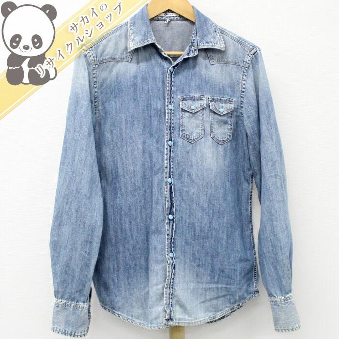 【中古】ガス メンズ デニムシャツ ブルー 表記サイズ:S