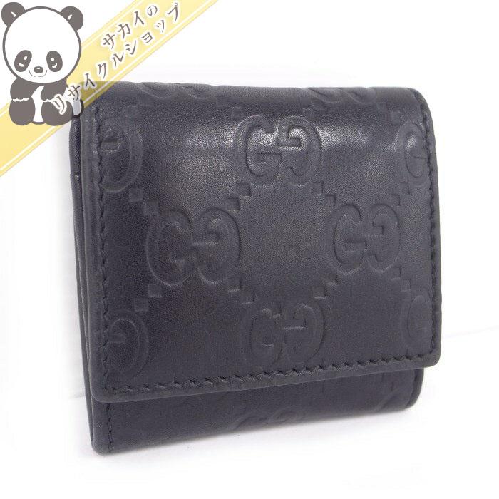 【中古】 グッチ コインケース グッチシマレザー ブラック 162350