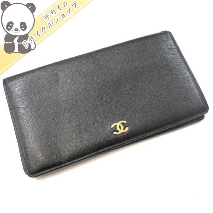 【中古】シャネル 二つ折り長財布 ココマーク レザー ブラック