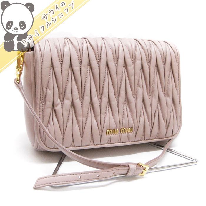 【中古】 ミュウミュウ ショルダーバッグ セカンドバッグ マテラッセ ピンク系 レザー 5BD068
