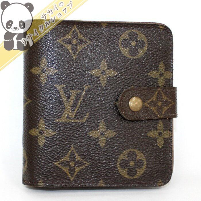 【中古】 ルイヴィトン コンパクトジップ 二つ折り財布 モノグラム M61667