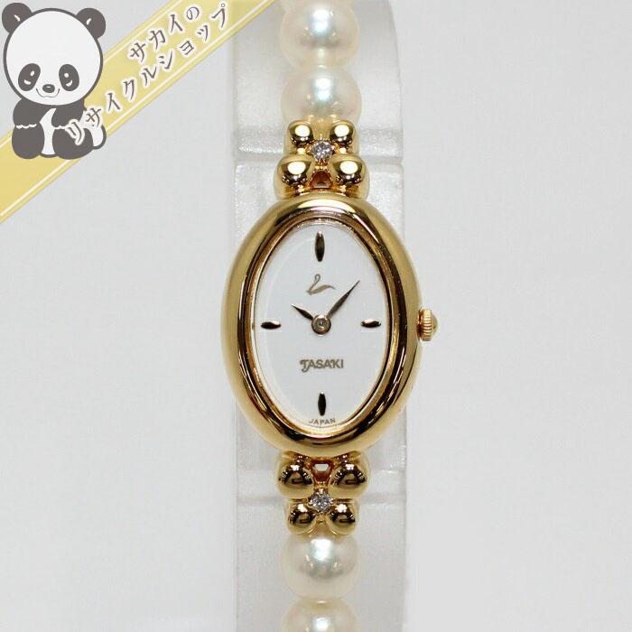 【中古】タサキ レディース腕時計 パール/ダイヤ D0.04ct クォーツ