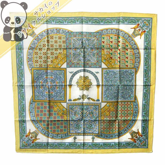 【中古】 エルメス スカーフ カレ90 CIELS BYZANTINS(ビザンチンの空) シルク100%