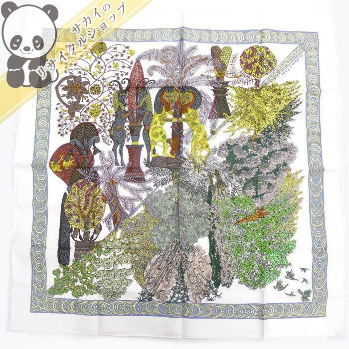 【中古】 エルメス カレ90 大判スカーフ Legendes de L'Arbre 木の伝説 シルク100% ホワイト