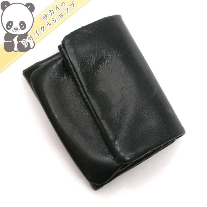 【中古】ワイズ 三つ折りがま口財布 ブラック レザー