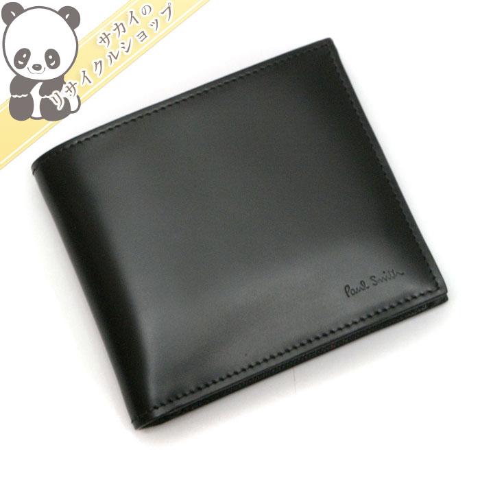 【中古】【未使用】ポール・スミス 二つ折り財布 ブラック カーフレザー ATXC4833