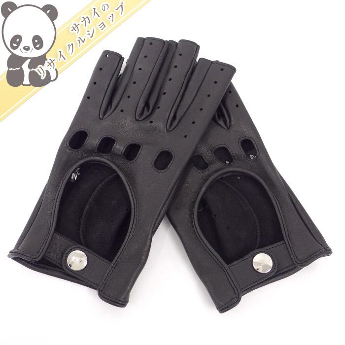【中古】【未使用】CHANEL フィンガーレス グローブ 手袋 パンチング レザー ブラック 表記サイズ7 1/2