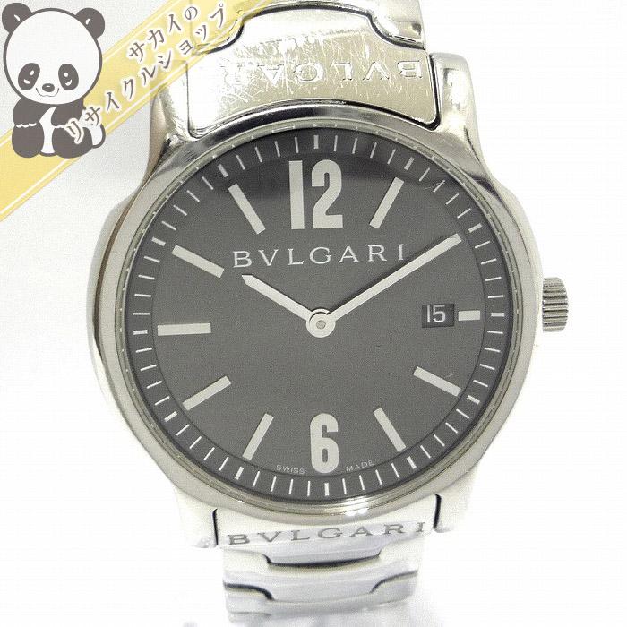 【中古】BVLGARI ソロテンポ メンズ腕時計 シルバー SS デイト クオーツ 文字盤ブラック ST35S