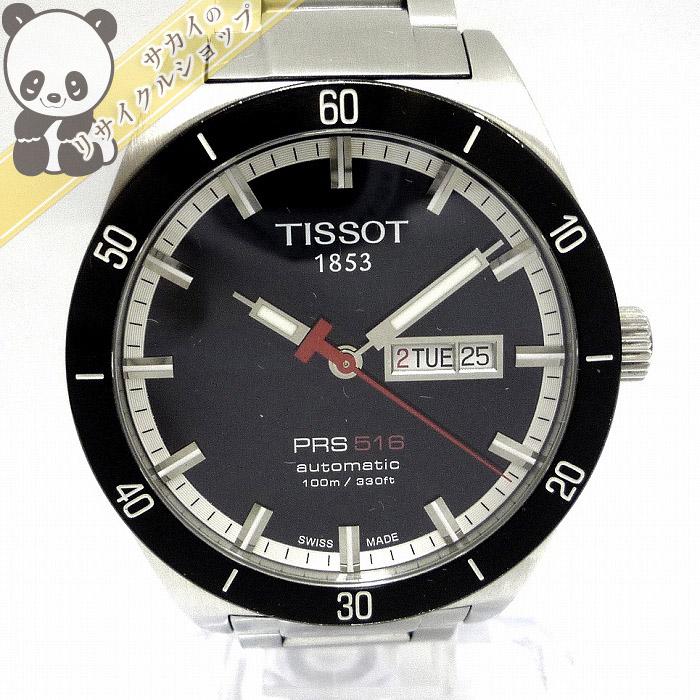 【中古】ティソ メンズ腕時計 T-スポーツ SS 自動巻き デイデイト 裏スケルトン 文字盤ブラック PRS516 T044430A