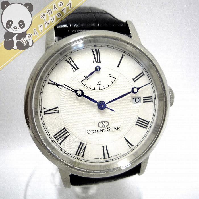 【中古】【美品】オリエント オリエントスター エレガントクラシック メンズ腕時計 AT/手巻き付 パワーリザーブ SS/レザー 文字盤ホワイト WZ0341EL
