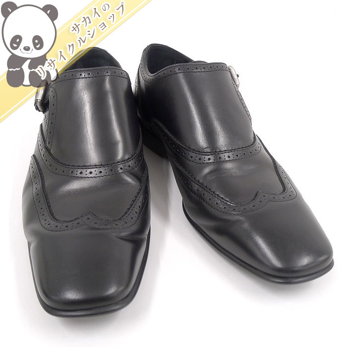 【中古】LOUIS VUITTON モンクストラップシューズ ビジネスシューズ レザー ブラック サイズ:6 メンズ