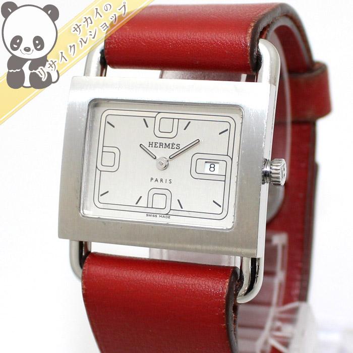 【中古】HERMES レディース腕時計 クォーツ バレニア SS/レザー シルバー/レッド BA1.510