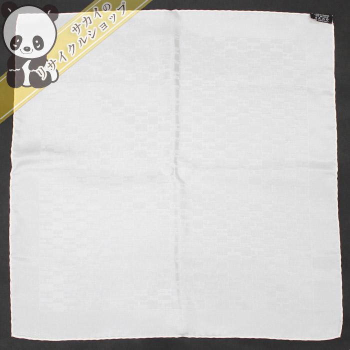 【中古】HERMES ミニスカーフ Hロゴ シルク100% ホワイト