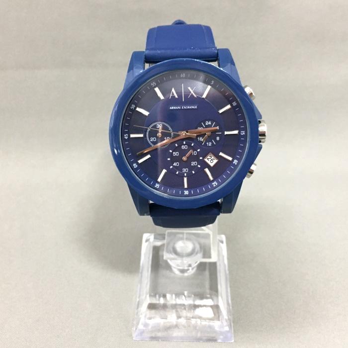人気ブランド多数対象 ARMANIEXCHANGE 特売 中古 アルマーニ エクスチェンジ メンズ 腕時計 AX1327 ブルー jggW クロノグラフ クオーツ