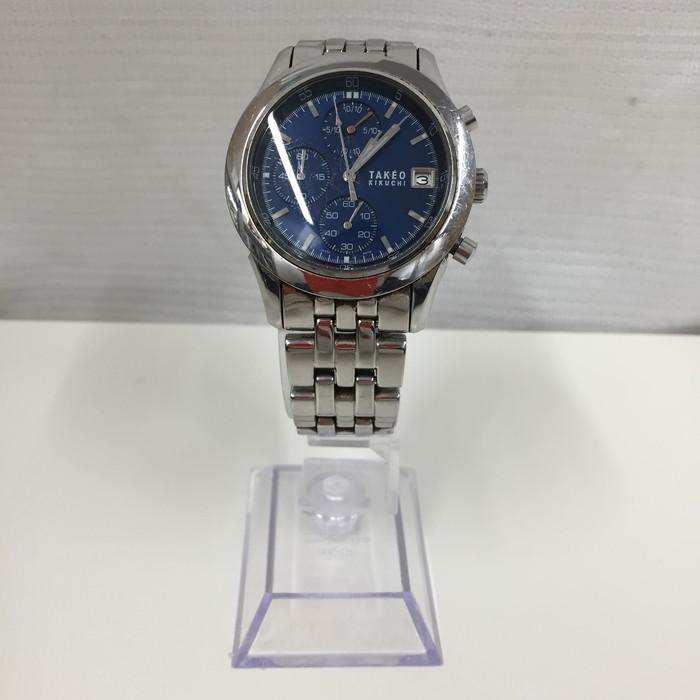 TAKEO 1年保証 KIKUCHI 中古 タケオキクチ メンズ腕時計 jggW SS TK-2037 クオーツ 人気の製品