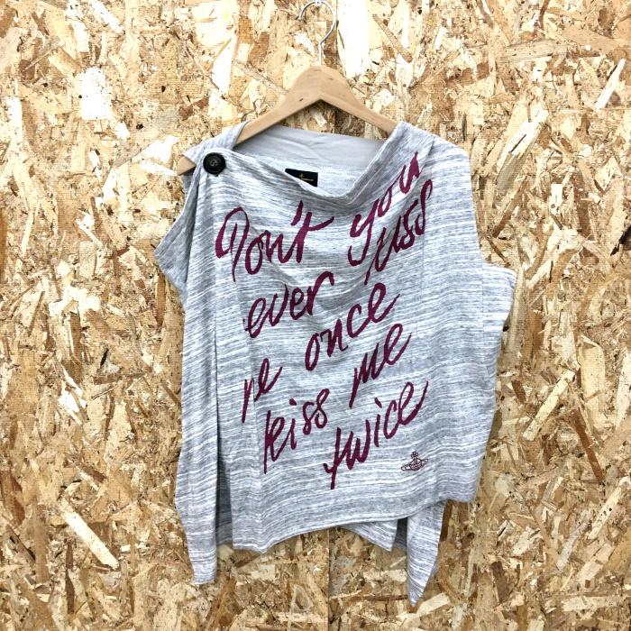 Vivienne Westwood Anglomania 美品 中古 超激安 ヴィヴィアンウエストウッド アングロマニア !超美品再入荷品質至上! グレー jgg ノースリーブシャツ コットン100% レディース 表記サイズ:S