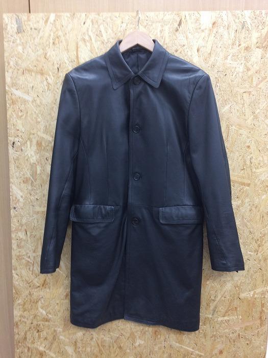 【中古】COMME CA DU MODE コムサデモード メンズ 羊革ロングコート ブラック 表記サイズ:2[ic][jggI]