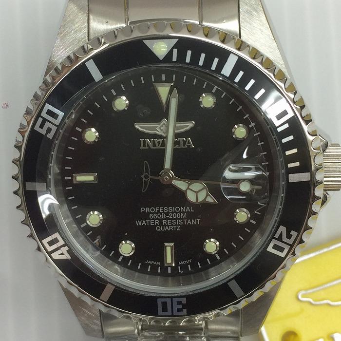 【中古】インビクタ メンズ腕時計 プロダイバー クオーツ SS 黒文字盤 シルバー 9307[jggW]