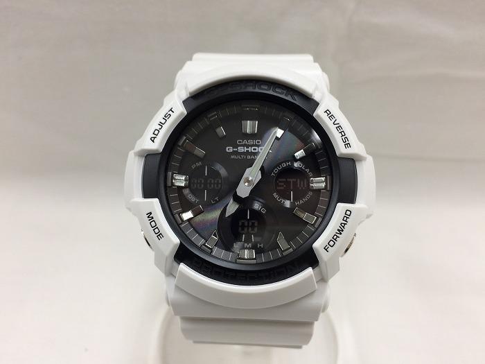 【中古】カシオ ジーショック メンズ 腕時計 ホワイト 電波ソーラー GAW-100B[jggW]