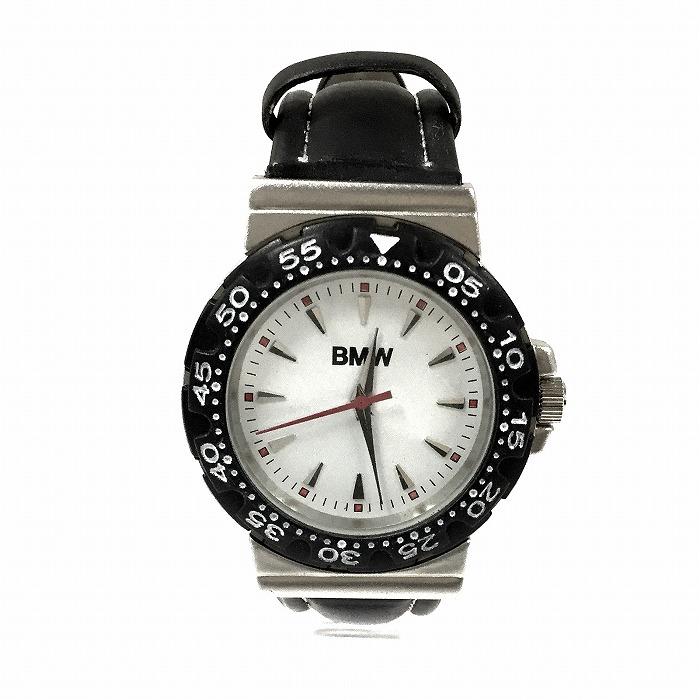 【中古】BMW メンズ腕時計 クオーツ SS/レザー ホワイト文字盤[jggW]