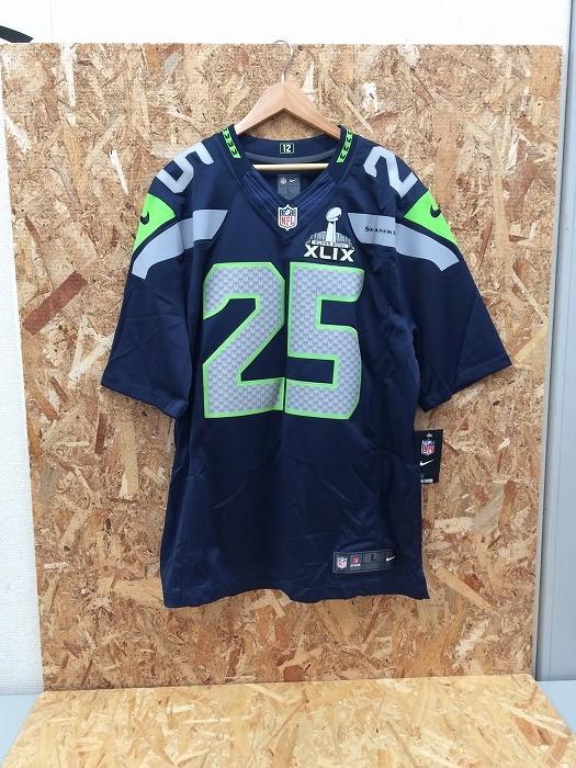 【中古】ナイキ メンズ フットボールゲームシャツ NFL シアトルシーホークス リチャードシャーマン ネイビー系 表記サイズ:1[jggI]