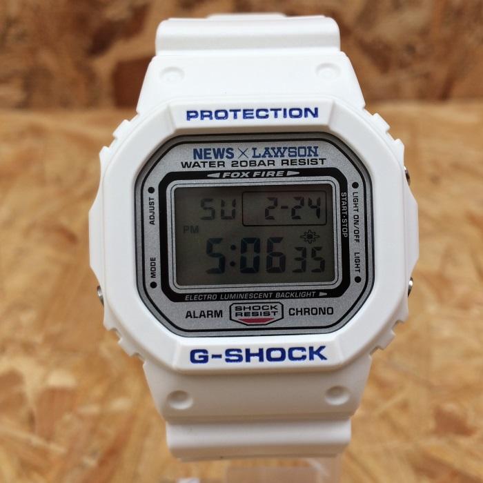 【中古】カシオ ジーショック/ローソン/NEWS メンズ腕時計 DW-5600VT クオーツ ラバー ホワイト[jggW]