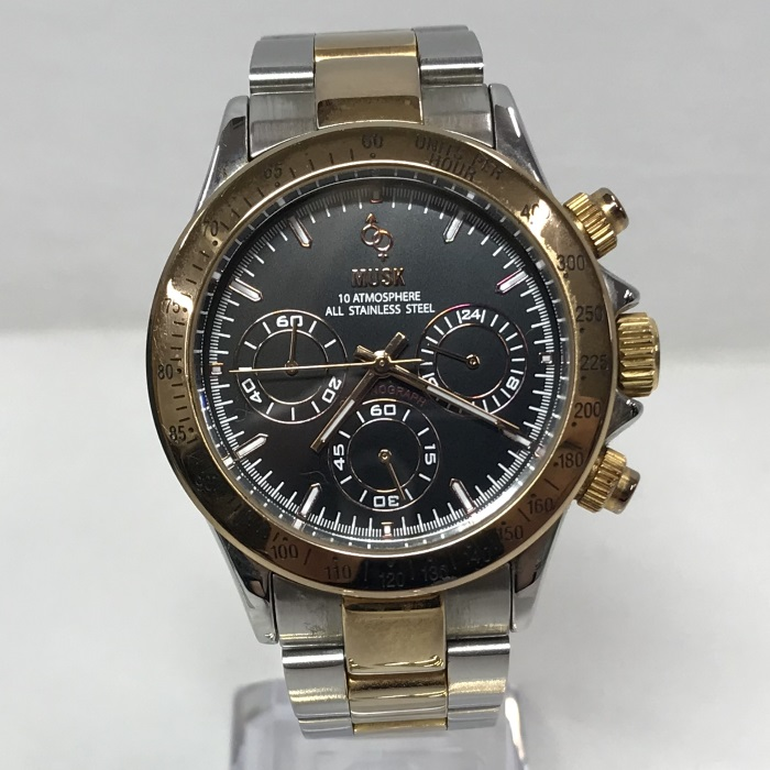【中古】ムスク メンズ腕時計 MA-2172 クオーツ クロノグラフ コンビ SS 黒文字盤 シルバー/ゴールド[jggW]