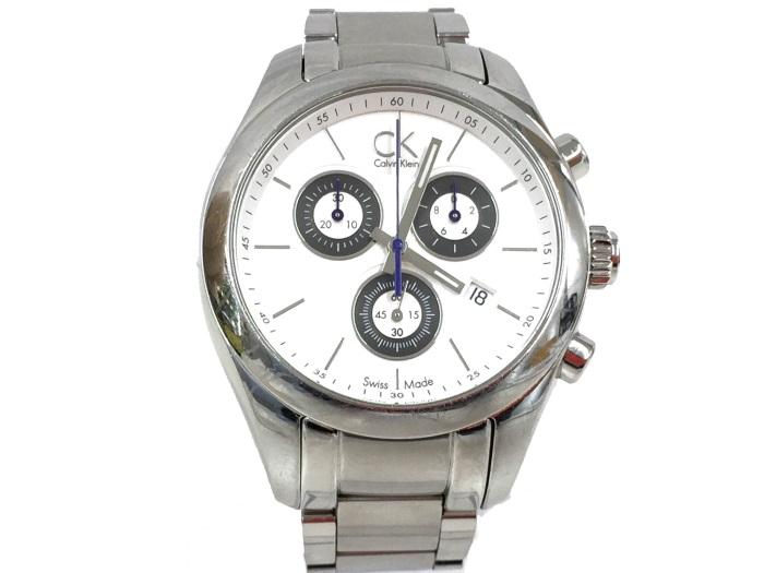 【中古】カルバンクライン メンズ腕時計 クオーツ クロノグラフ SS ホワイト文字盤 KOK.281[jggW]