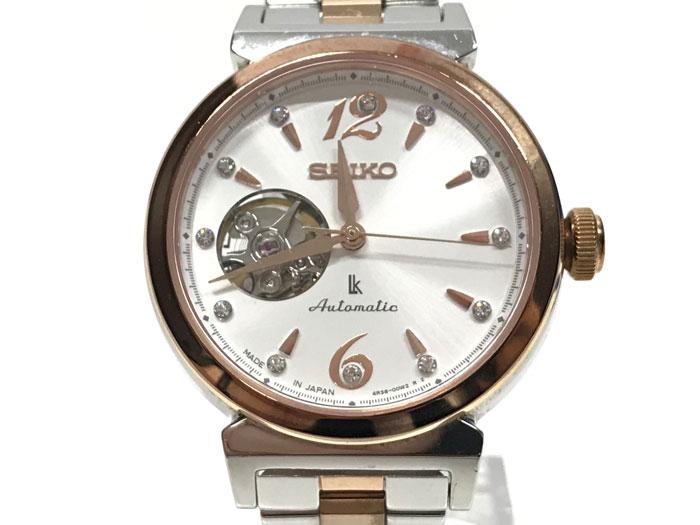 【中古】セイコー ルキア レディース腕時計 SS スワロフスキー 自動巻き SSVM010[jggW]