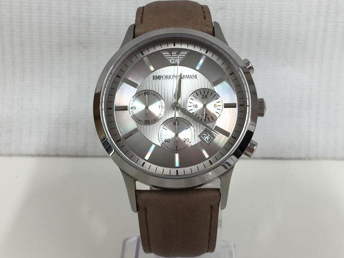【中古】エンポリオアルマーニ メンズ腕時計 クオーツ シルバー文字盤 SS/レザー AR-2471[jggW]