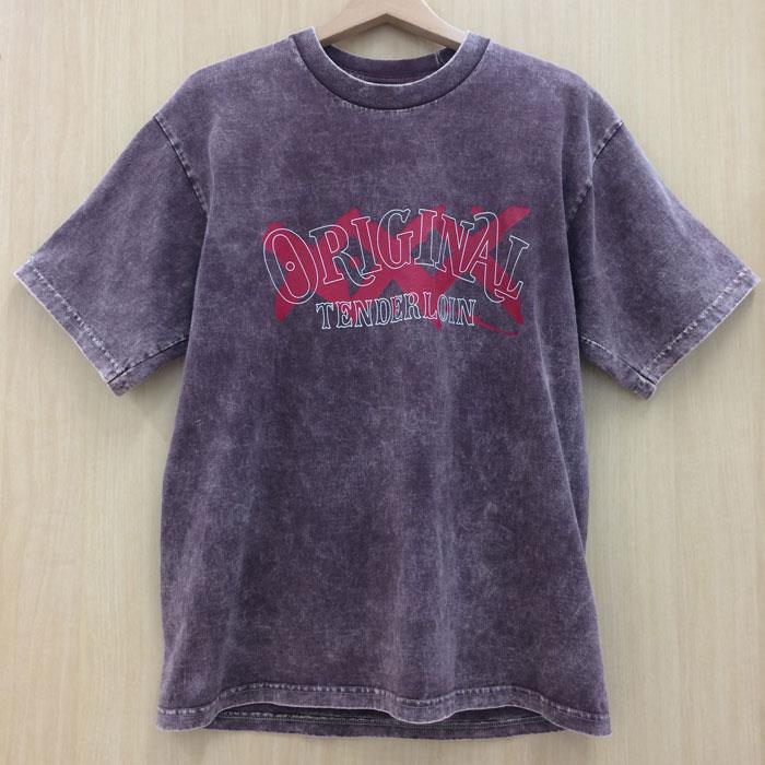 【中古】テンダーロイン オリジナル ロゴTシャツ ウォッシュ ムラ染め ブラウン系 サイズL メンズ[jggI]