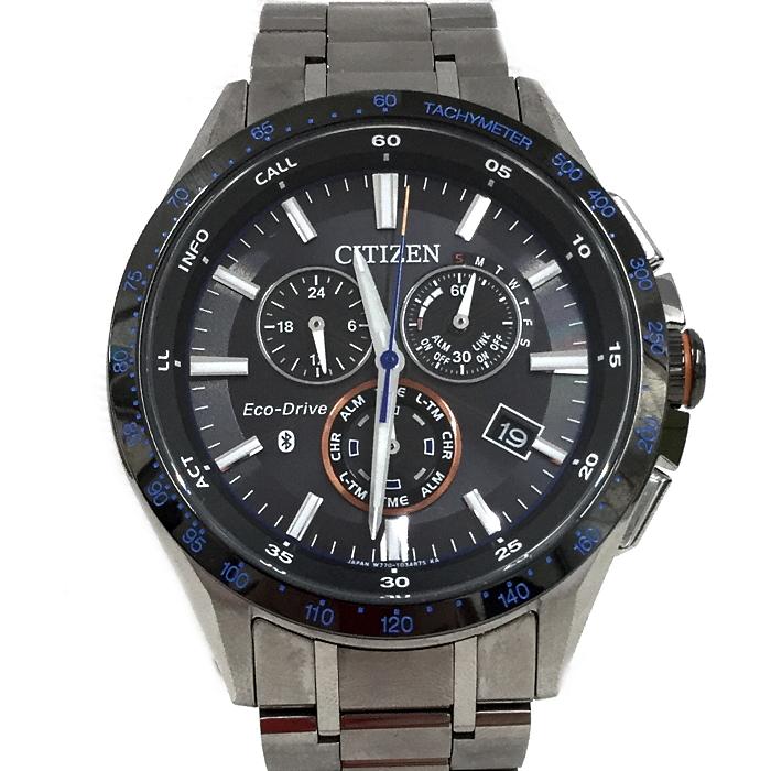 【中古】シチズン エコドライブ ブルートゥース スマートフォン連動 メンズ腕時計 ソーラー クロノグラフ チタン BZ1034-52E[jggW]