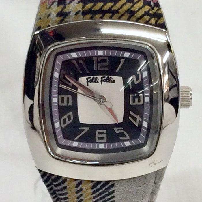 【中古】フォリフォリ レディース腕時計 SS/レザー クオーツ タータンチェック シルバー/ブラック WF4T104SRSSMG[jggW]
