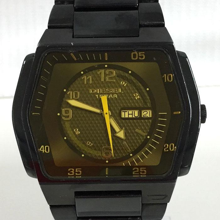 【中古】ディーゼル メンズ腕時計 SS クオーツ ブラック DZ-1166[jggW]