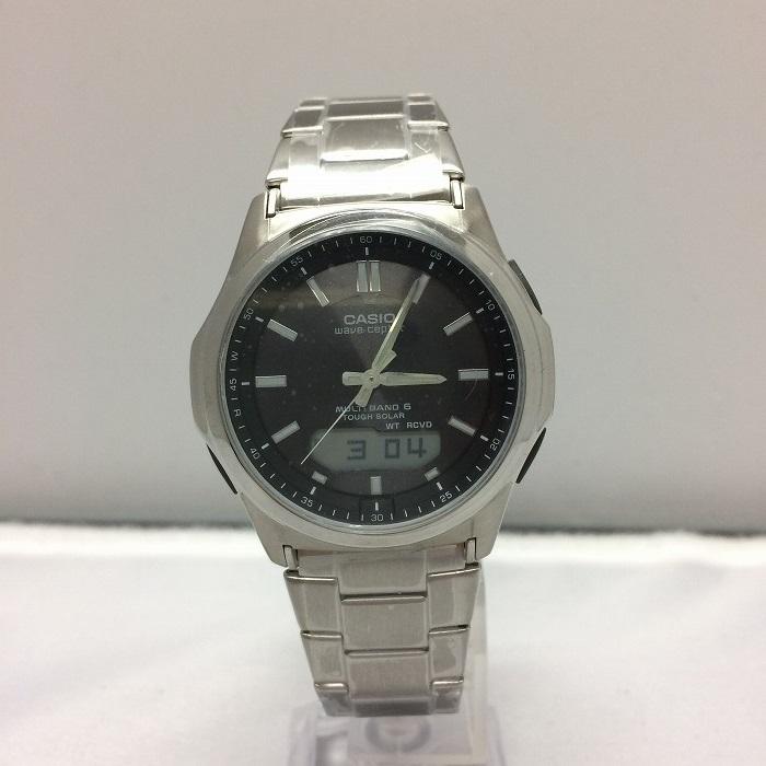 【中古】カシオ ウェーブ セプター メンズ腕時計 電波ソーラー シルバー WVA M630[jggW]