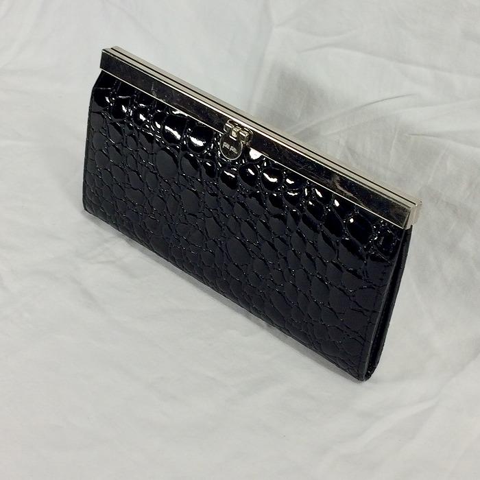 Folli Follie 中古 フォリフォリ ガマ口 クロコ 型押し ブラック 格安激安 jggZ 新商品!新型 長財布