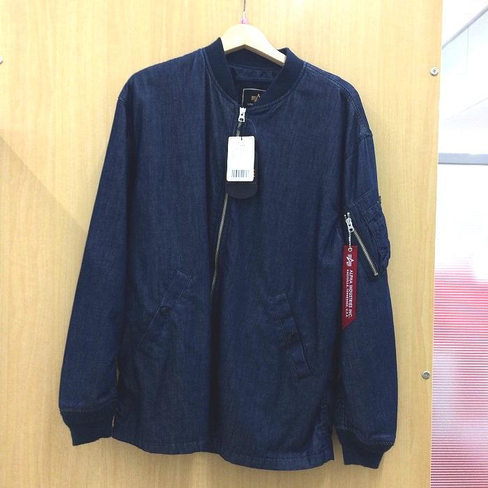 【中古】アルファインダストリーズ メンズ ボンバージャケット MA-1 デニム ブルー 表記サイズ:L[jggI]
