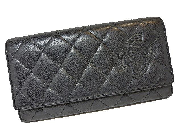 【中古】CHANEL 二つ折り長財布 シンプリーCC マトラッセ ソフトキャビアスキン ブラック A80212