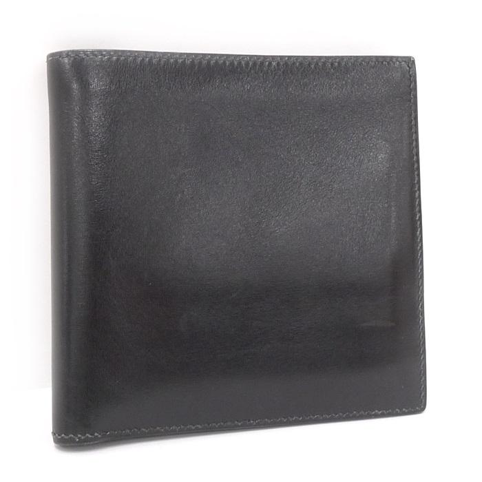 【中古】HERMES 二つ折りコンパクト財布 ブラック メンズ カーフ 刻印◯U