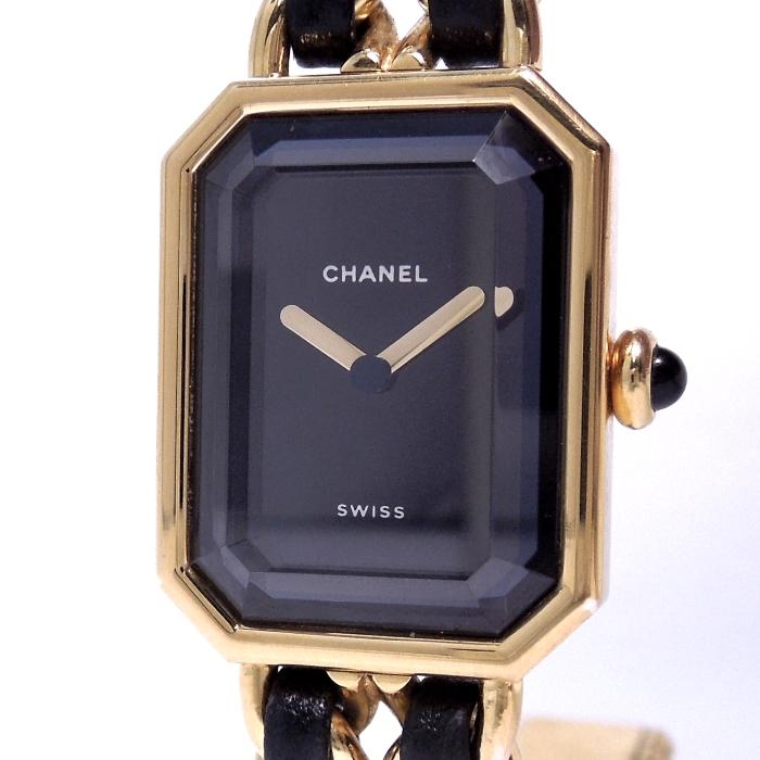 【中古】CHANEL プルミエール Mサイズ レディース腕時計 クォーツ SS/レザー ゴールド/ブラック 黒文字盤 H0001-M