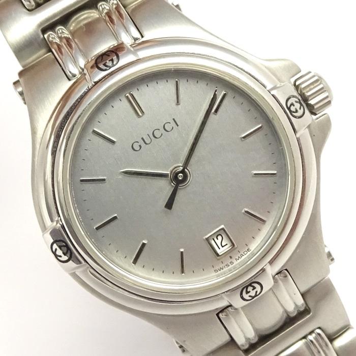 【中古】GUCCI レディース腕時計 クォーツ シルバー文字盤 SS 9040L