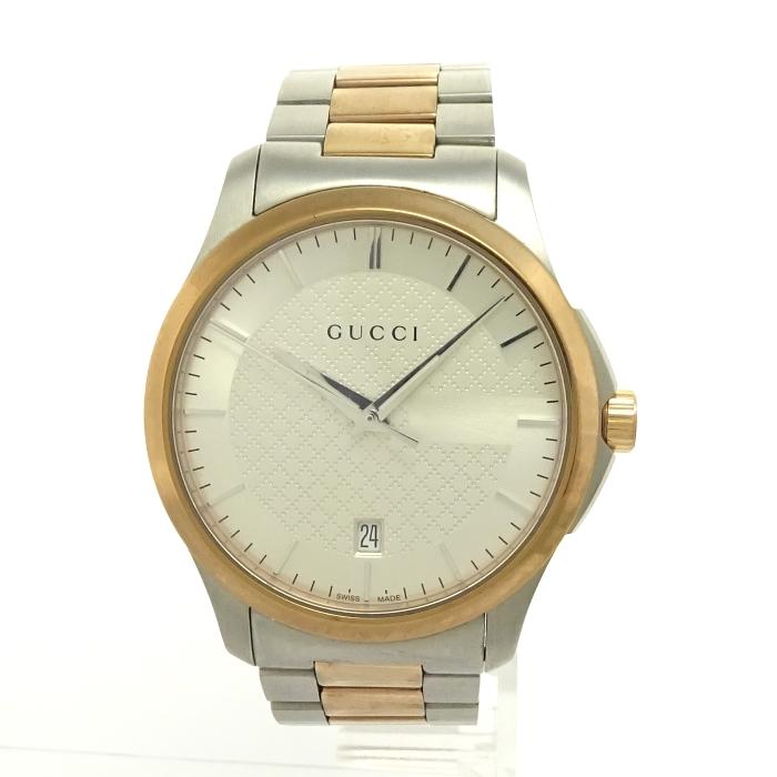 【中古】GUCCI Gタイムレス メンズ腕時計 ゴールド/シルバー文字盤 ディアマンテ クォーツ 126.4 YA126474 SS