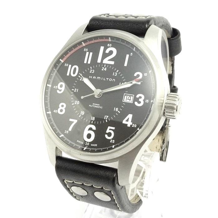 【中古】HAMILTON カーキフィールド オフィサー 自動巻き SS/革 文字盤ブラック メンズ腕時計 H706150